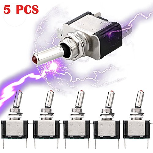 5pcs SPST LED Lighted Rocker Toggle Switch Linkstyle Marine Toggle Switch, On-Off LED Toggle Switch 12V 20A for Car RV Vehicles Truck Boat