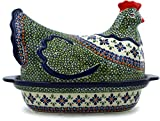 Polish Pottery Hen Shaped Jar 13-inch (Gingham Flowers)