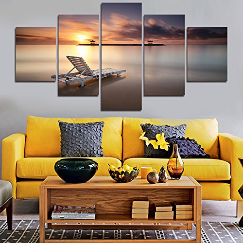 5 Piece Canvas Set ([Medium] Premium Quality Canvas Printed Wall Art Poster 5 Pieces / 5 Pannel Wall Decor Sunset Beach Painting, Home Decor Pictures - With Wooden Frame)
