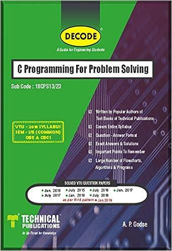 Buy DECODE- C Programming for Problem Solving for VTU (SEM-I