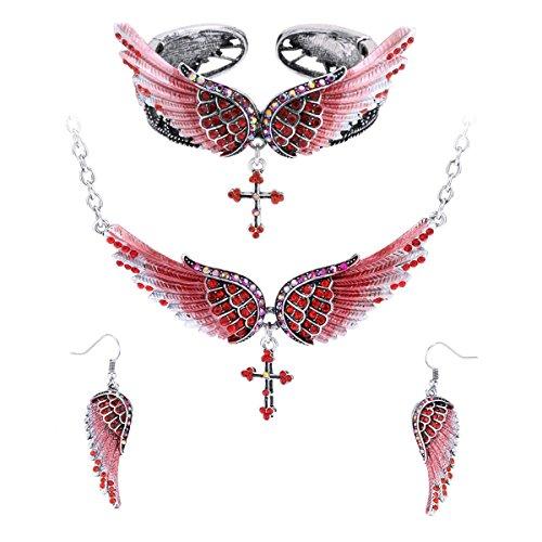 (Szxc Jewelry Women's Angel Wing Cross Pendant Necklace Bangle Bracelet Earrings biker Jewelry Sets)