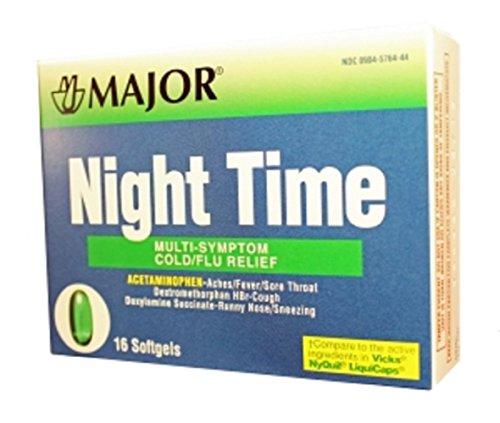 MAJOR NIGHT TIME GEL CAPS ACETAMINOPHEN-325 MG Green 16 CAPS UPC 309045764442