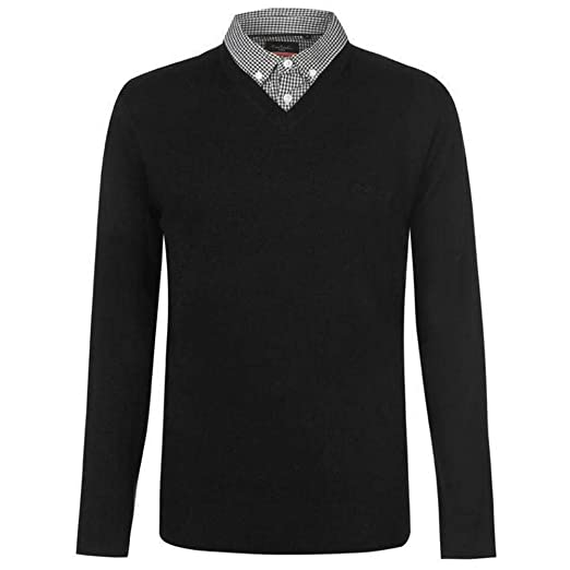 13529462c1c Pierre Cardin Mens New Season V-Neck Knitted Jumper with Mock Shirt Collar  Insert