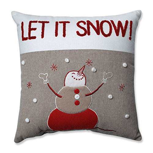 (Pillow Perfect Country Home Snowman Red/Biscuit 15.5-inch Throw Pillow)