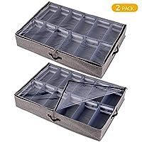 Tiawudi Under Bed Shoe Storage Organizer, Adjustable Dividers - Underbed Storage Solution