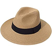 Haundry Women Wide Brim Straw Panama Roll up Hat Fedora Beach Sun Hat UPF50+