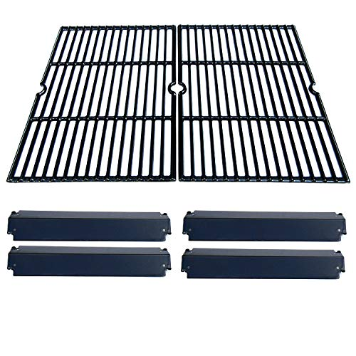 Steel Heat Plate Coated Porcelain (bbq factory® Replacement Charbroil Gas Grill Rebuild Kit and Porcelain Coated Cast Iron Cooking Grill Grates and Porcelain Steel Heat Plates)