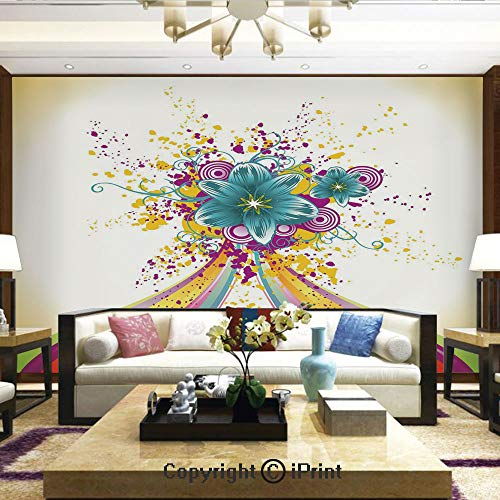 Lionpapa_mural Wall Decoration Designs for Bedroom,Kitchen,Self-AdhesiveRainbow Colored Image with Bold Lines and Flowers Buds Blossoms Ivy Artwork,Home Decor - 66x96 inches