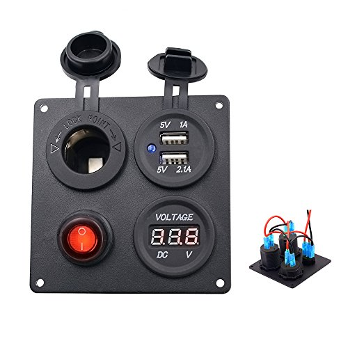 Systems Accessories Panel (TurnRaise Dual USB Charger Aluminum Switch Panel + LED Voltmeter + 12V Power Socket + ON-OFF Button Switch Four Hole Panel for Car Boat Marine Truck Motorcycle RV ATV Vehicles GPS Mobile Phone)