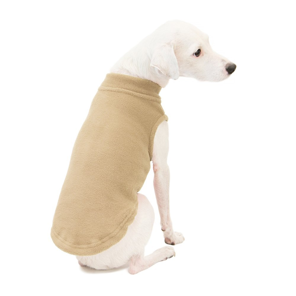 Gooby Stretch Fleece Pull Over Cold Weather Dog Vest, Sand, XX-Large