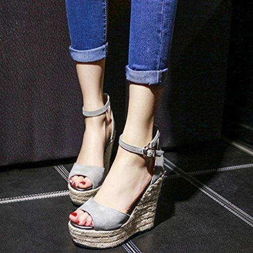 8cm Size Gruesa Zapatos Pescado De Damas Boca Sandalias color Gray Qingtaoshop cuñas Alta Super Gray Plataformas Para Suela Paja 39 Tacones CSwH4qxf