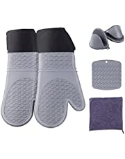Alblia Silicone Oven Mitts and Pot Holders Sets,Heat Resistant Extra Long Oven Mitts with a Potholder & Mini Pinch Oven Mitts & a Kitchen Towel, for Baking BBQ Grilling Microwave Cooking (Gray,6 Pcs,14.7in)