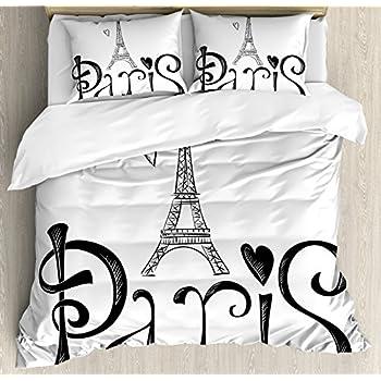 e4d7cafc6277a4 Home & Kitchen TAC 100% Turkish Cotton 4 Pcs! Paris Eiffel Tower Theme  Themed Full Double Queen Size Quilt Duvet ...