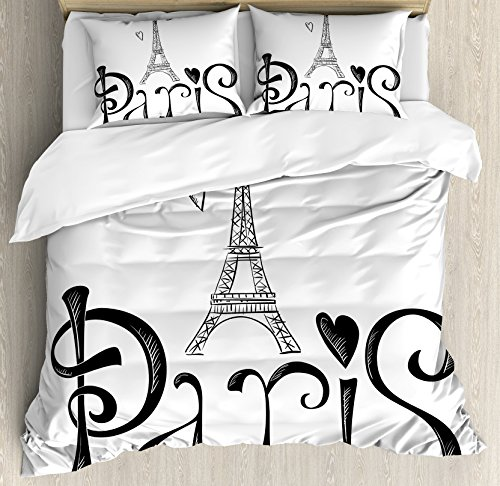 Paris City Decor Queen Size Duvet Cover Set by Ambesonne, Illustration with Eiffel Tower France Heart Shapes Silhouette Decorative Vacation Art, Decorative 3 Piece Bedding Set with 2 Pillow Shams