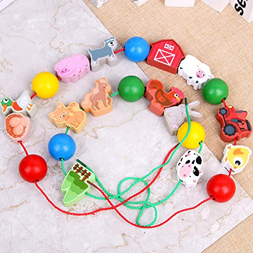 sJIPIIIk552 Wooden Farm Animal Lacing Stringing Beads with String Preschool Education Toy Picture