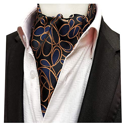 MENDENG Men's Orange Blue Paisley Jacquard Woven Silk Cravat Formal Tie ()