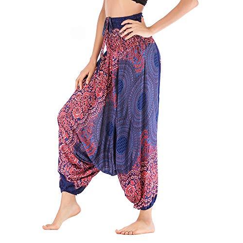 (Women Loose Yoga Pants Baggy Boho Jumpsuit Harem Pants Elephant Pants Hippie Clothes Yoga Outfits Print One Size Fits Blue )