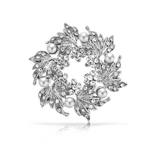(Bling Jewelry Bridal Crystal White Fashion Large Statement Leaf Wreath Circle Brooch Pin for Women for Mother Silver Plated)