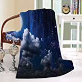 HAIXIA Throw Blanket Clouds Celestial Solar Night Scene Stars Moon and Clouds Heaven in Cosmos Dark Blue White