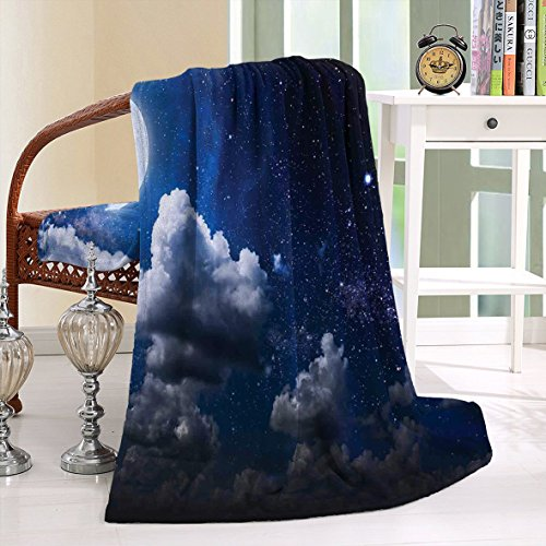 HAIXIA Throw Blanket Clouds Celestial Solar Night Scene Stars Moon and Clouds Heaven in Cosmos Dark Blue White by HAIXIA