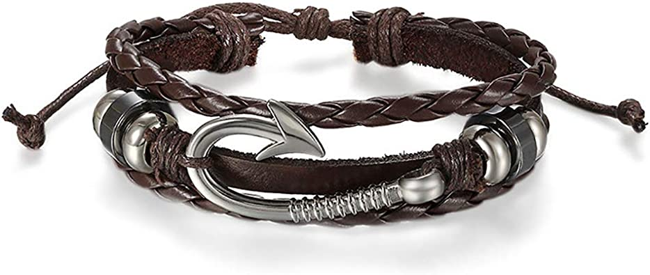 Mens wrap Bracelet Bohemian Wristband leather nautical bracelet men/'s jewelry leather cuff Anchor Bracelet Men Braided Leather bracelet