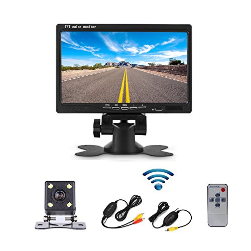 Camecho Wireless Car Vehicle Backup Camera System Universal 7 inch TFT Color LCD Reverse Rear View Security Monitor & Waterproof Night Vision Hidden Back Up Camera