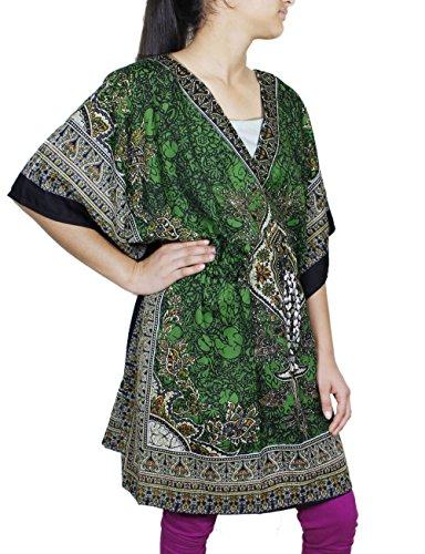 Femmes caftan floral court indien caftan taille plus vêtements de plage bohème tunique
