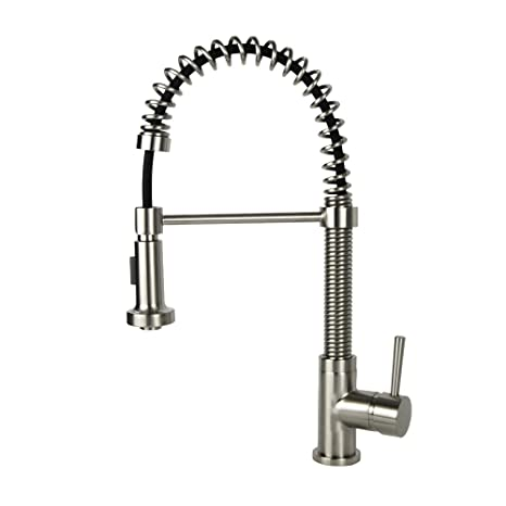 Industrial Style Coil Spring Brushed Nickel Faucet Kitchen