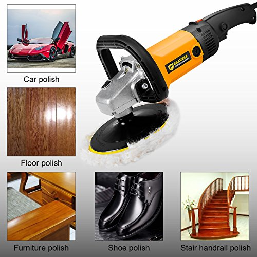 Goplus 7'' Electric Car Polisher Variable 6-speed Buffer & Sander w/ Bonnet Pad by Goplus (Image #3)