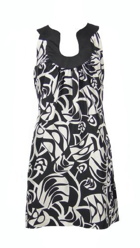 LBD Laundry by Design Tribal Print U-Neck Dress Black & White Size 6
