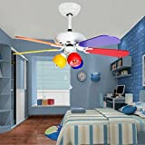 Tropicalfan Kids Ceiling Fan with 3 Light Colorful Lampshade Childrens Room Study Bedroom 5 Wood Blades 42 Inch