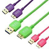 EZOPower 3Packs Micro-USB 3.0 Data Sync Charger Cable for Samsung Galaxy Note 3 III / Galaxy S5 / Galaxy Note Pro 12.2 inch Tablet Smartphone (6 feet,Purple,Green,Hot Pink)