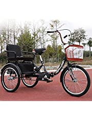 Tricycle Adult 20inch Elderly 3 Wheel Bicycle for Parents and Children Comfortable Folding Tricycle with Rear Seat and Shopping Basket Load 200kg/440lb (Color : Black)
