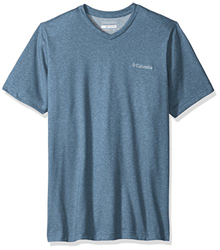 Columbia Men's Thistletown Park V-Neck Shirt, Blue Heron Heather, - Hut V