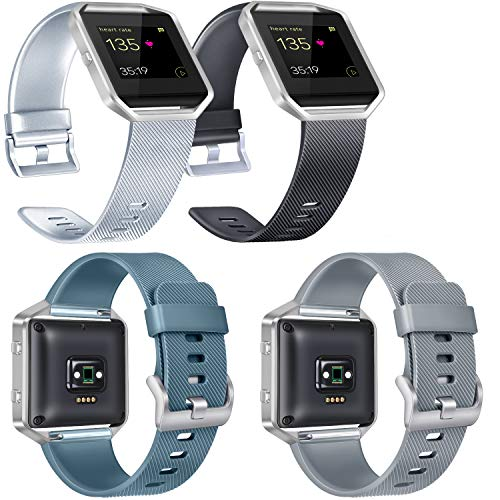 Mens Blaze (Vancle Replacement Bands Compatible with Fitbit Blaze Women Men, Classic Silicone Straps for Fitbit Blaze Smart Watch, Silver, Black, Slate, Gray, Large)