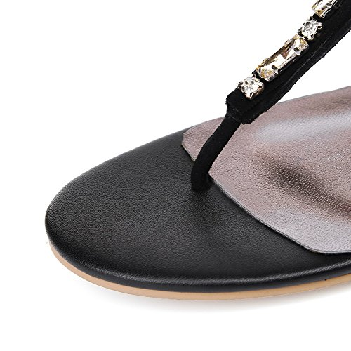 Womens Split No Zipper Heel Toe Sandals Black Solid AllhqFashion ORwCqq