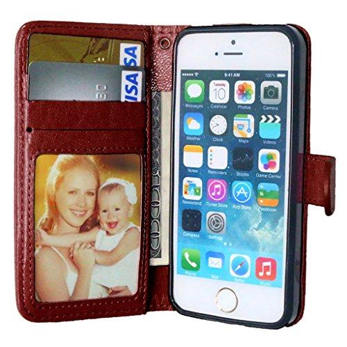 Gift_Source iPhone 5S hülle, iPhone 5 hülle, Brieftasche Ledertasche Bookstyle Schutzhülle Leder Flip case Etui for Apple iPhone 5/5S [ brown ]