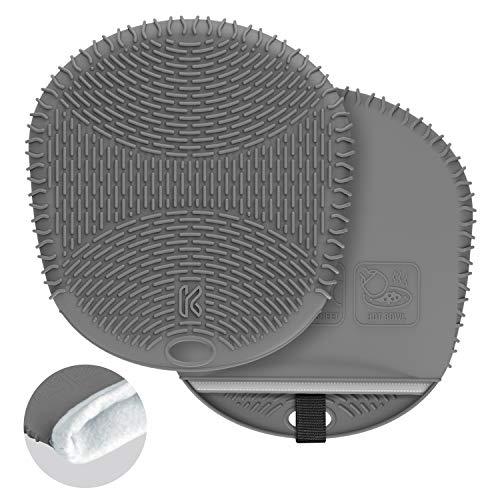 KozyGear Premium Waterproof / Heatproof / Non-Slip Double layers (Silicone + Cotton) Oven Mitt pair set [Z4 Grey - purpose for oven use]