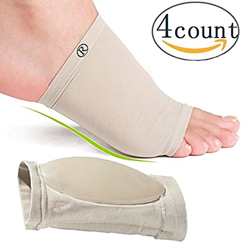 Lingssss 2 Pair High Arch Support Brace Compression Sleeve with Gel Pad Cushion Pillow for Flat Feet Foot Arch Support Shoe Insert Insole, Helps Relief Plantar Fasciitis Under Boots