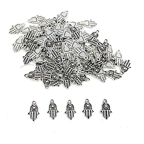 100PCS Antique Silver Hamsa Hand of Fatima Symbol Charms - JIALEEY Hamsa Hand Beads Frame Charms for Jewelry Making Findings DIY Necklace Bracelet