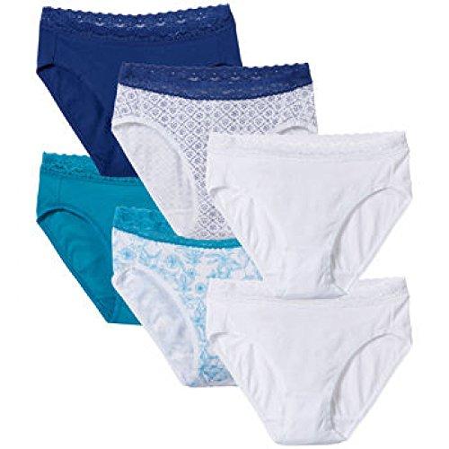 Blue Lace Briefs (Hi-cut Cotton Briefs with Lace, 6-pk (Medium/6,)