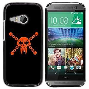 TECHCASE**Cubierta de la caja de protección la piel dura para el ** HTC ONE MINI 2 / M8 MINI ** Skull Head Pirate Mask Vampire Teeth Orange