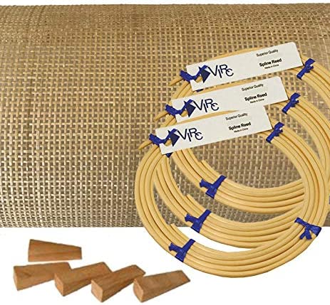 Pressed Cane Webbing Kit Radio Weave Mesh with splines Wedges and Instructions