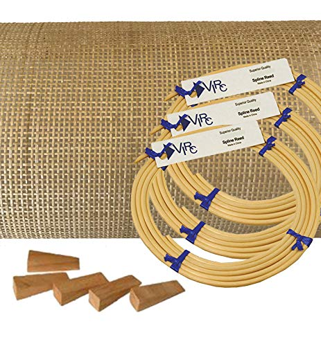 Pressed Cane Webbing Kit Radio Weave Mesh with splines, Wedges and Instructions