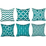 turquoise throw pillow  100% Durable Canvas Square Decorative Throw Pillows Cushion Covers Pillowcases for Sofa,Set of 6,18×18 Inch-Turquoise