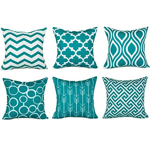 100% Durable Canvas Square Decorative Throw Pillows Cushion Covers Pillowcases for Sofa,Set of 6,18×18 Inch-Turquoise