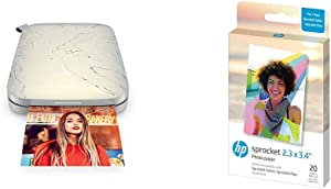 HP Sprocket Select Portable 2.3x3.4 Instant Photo Printer (Eclipse) with 2.3 x 3.4 Premium Zink Sticky Back Photo Paper (20 Sheets)