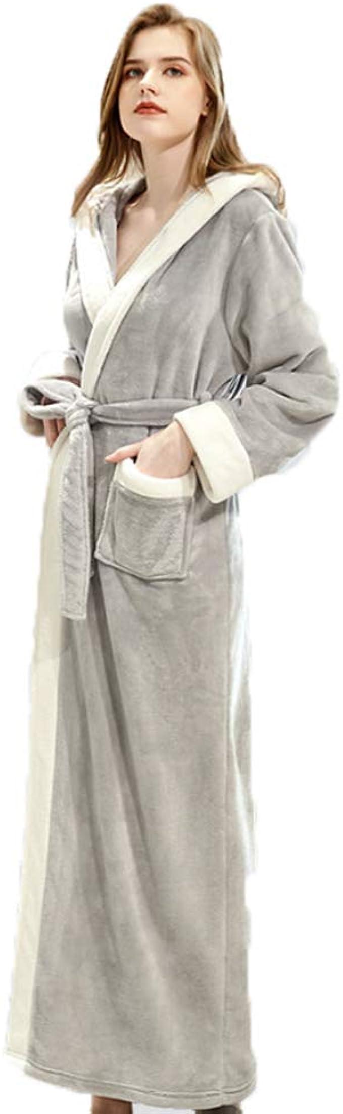 Robe de Chambre Longue en Flanelle Luxueuse Peignoir de Bain dhiver Moelleux Confortable Col Ch/âle Chemise de Nuit pour Salle de Bain Chambre Salon Voyage pour Unisexe Couple M L XL