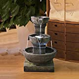 small water features PeterIvan Outdoor Waterfall Fountain - Relaxing Soothing Outdoor Fountains for The Garden&Patio with LED Lights and Charming Outdoor Water Feature