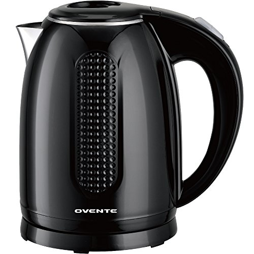 Ovente Electric Hot Water Kettle Black 1.7 Liter BPA-Free Water Boiler and Tea Heater with Double Walled Stainless Steel, 1100 Watts, Auto Shutoff and Boil Dry Protection (KD64B)